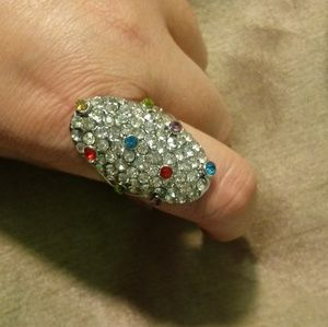 Costume jewelry rhinestone accented cocktail ring